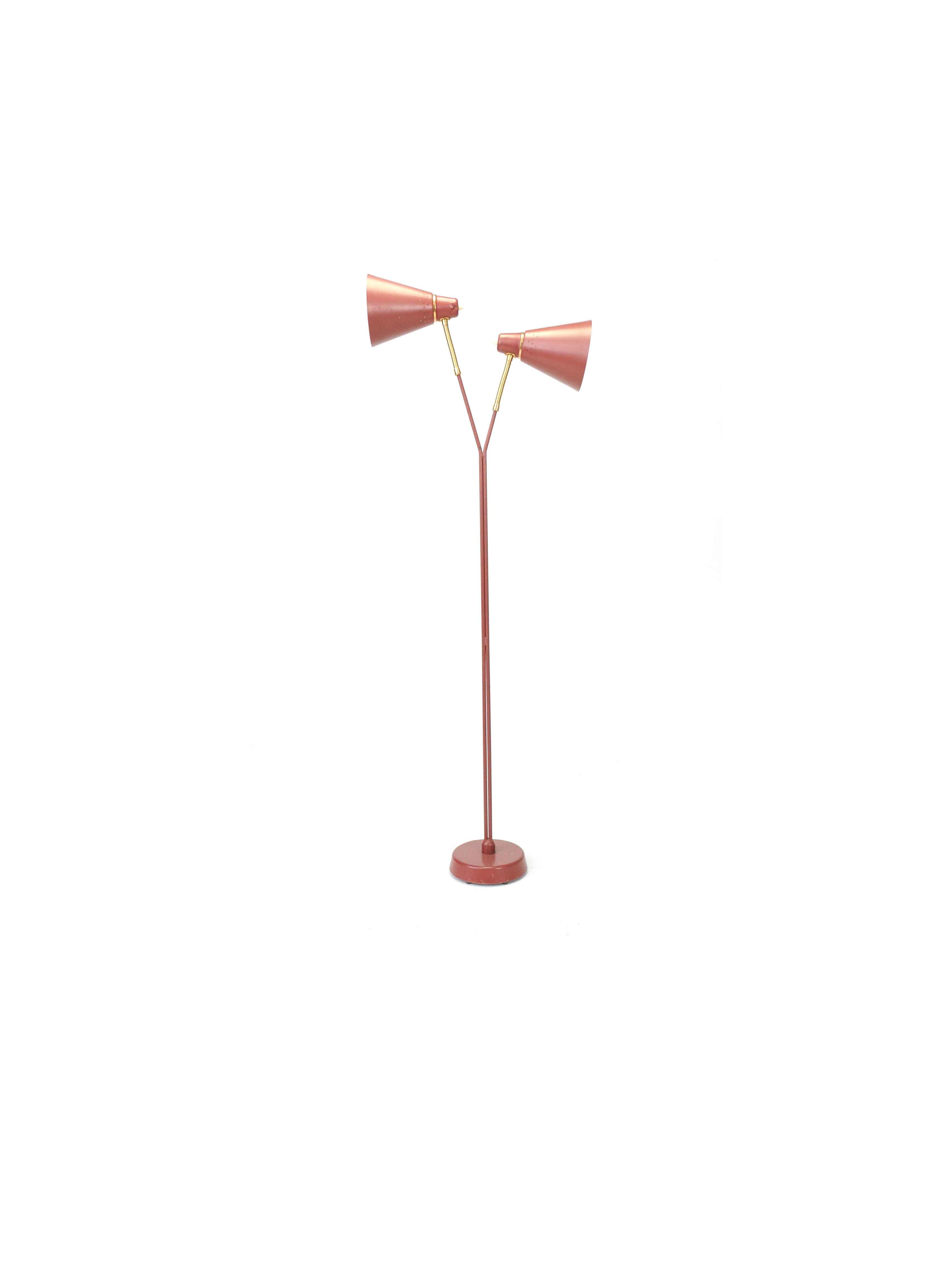 TWO HEADED GOOS NECK FLOOR LAMP